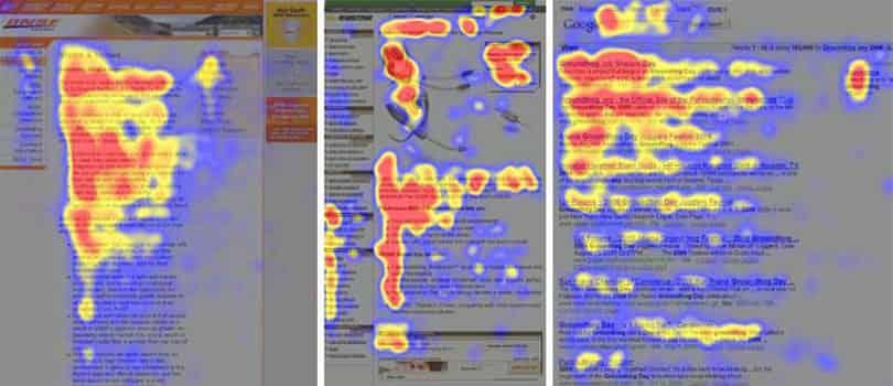 Het onderzoek van Jakob Nielsen toont aan dat bezoekers in een F patroon lezen.